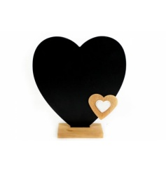 Wooden stand with heart shaped chalkboard and small wooden heart shaped decoration.