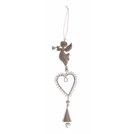 Chic hanging decoration with a heart and bell. Each is topped with a bird, angel or deer.