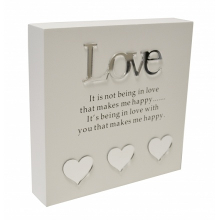 Fine quality wooden block sign and gift box in classic white and silver colours with a Love sentiment.