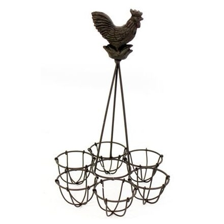 Metal Cockerel Egg Rack 27 x 16