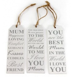 Cute slogan tags in an assortment. A great gift for mothers day