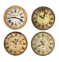 4 Assorted wall clocks with French wording and design