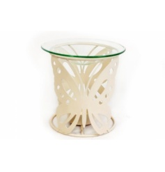 Attractive oil burner with cream butterfly design and glass top.
