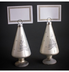 Glass and white tree shaped name card holders with glitter tree design.
