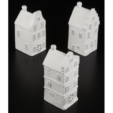 Porcelain House T Light Holder Mix, 3a