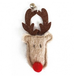 Felt moose with rosy red nose and gold bell.