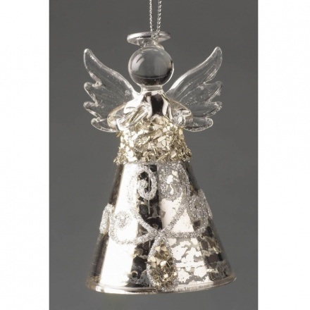 Glass Angel With Silver Skirt