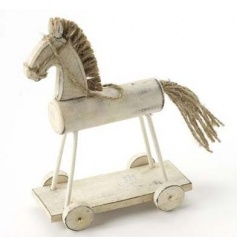 A traditional wooden horse decoration in wheels with rustic jute string.