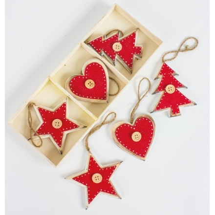 Wooden White/Red Hanging Decorations, Set 6