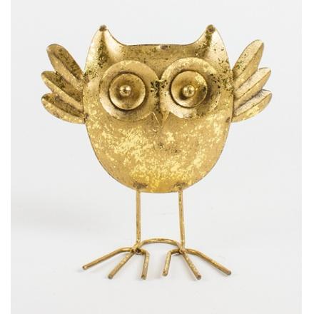 Gold Metal Standing Owl 11cm