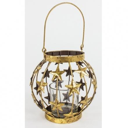Metal Hanging Gold Lantern W/Stars, Small