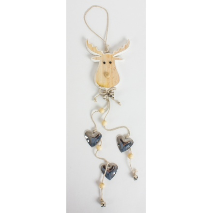 Christmas Wooden Hanging Moose Decoration