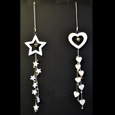Christmas Wooden Hanging Heart and Star W/Bells, 2a