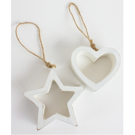Chunky Wooden Hanging Heart and Star, 2a