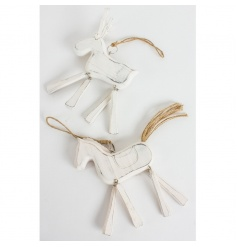 Traditional reindeer and horse decorations with jointed legs and a rustic finish.