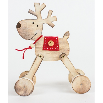 Wooden Reindeer With Wheels Decoration