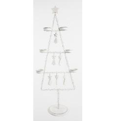 Large rustic metal tree ornament with hanging trees and stars and space for six t-light candles.