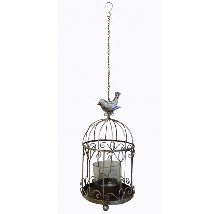 Glamorous bird cage t-light holder with decorative details and chain to hang.