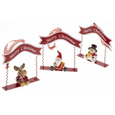 Snowman, Deer & Santa Swing Decorations, 3a