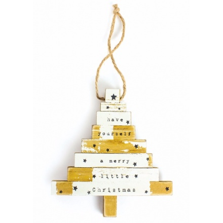 Rustic white and wooden hanging tree shaped decoration reading 'have yourself a merry little christmas'.