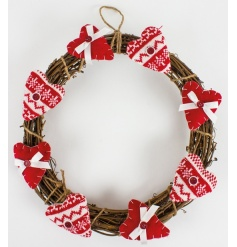 Natural wicker wreath with fabric hearts to finish