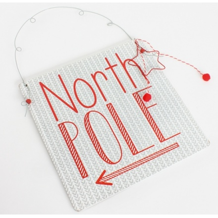 Wooden North Pole Sign