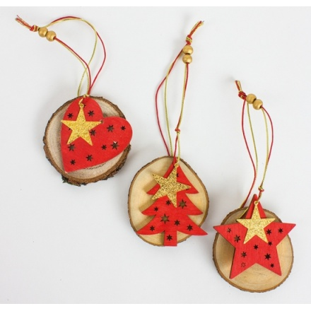 Christmas Wooden Red/Gold Hanging Decorations, 3a