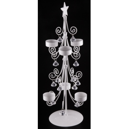 Tree Candle Holder W/Crystals, Medium