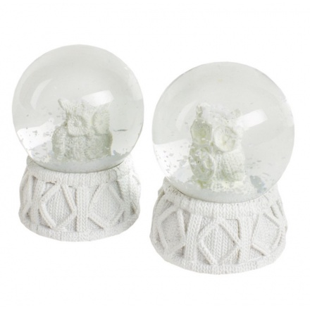 White Owl In Snow Globe Small, 2a
