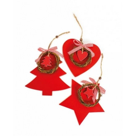 Red Wooden Hanging Decoration, 3a