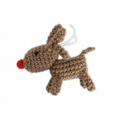 A cute crochet reindeer decoration with a red Rudolf nose.