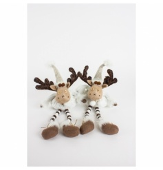 Cute and cosy festive moose with wooden bendy legs and a button nose.