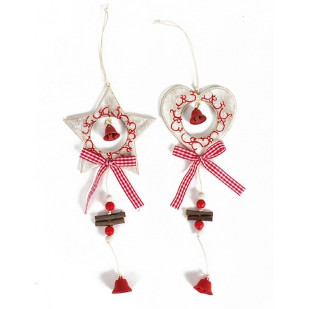 Christmas Wooden Hanging Star/Heart, 2a