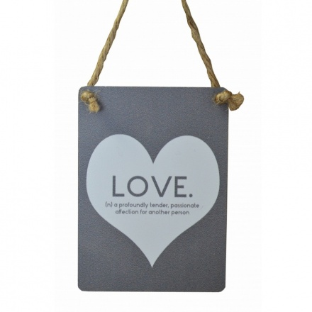 LOVE Mini Grey Metal Sign