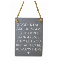 Small sign with lovely friendship text and star illustration. Finished with curved edges and jute string to hang.