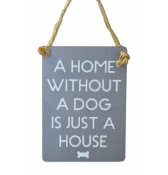 Small metal sign with sweet dog text and bone illustration. Finished with curved edges and jute string to hang.