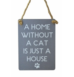 Small metal sign with popular cat text and paw print illustration. Finished with curved edges and jute string to hang.