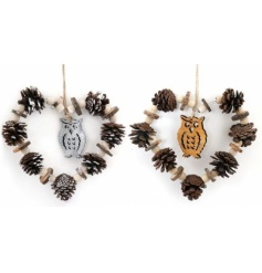 Hanging tree decoration in an assortment of with owl and pinecone detail