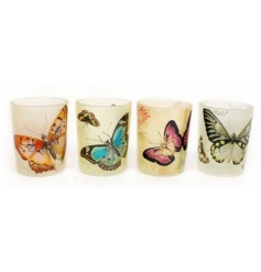 Glass T Light holders with a botanical butterfly design, each bright and colourful