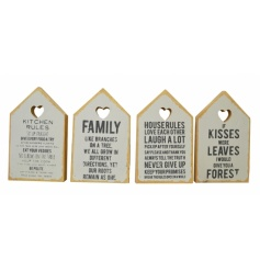 Cute wooden house shaped sign in pastel and natural colours with popular slogans.