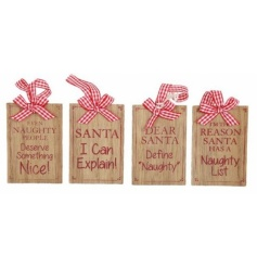 An assortment of humorous wooden festive signs with gingham ribbon and bow.