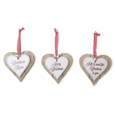 Double Wooden Christmas Heart, Assorted