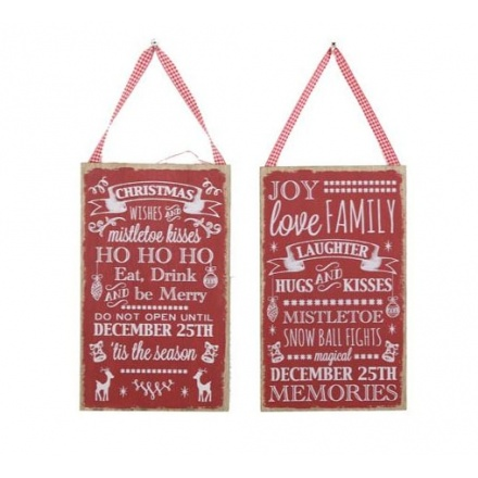 Xmas Wooden Signs Mix 25cm