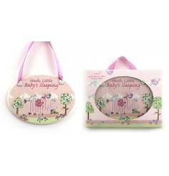 Delicate hanging pink plaque from the Bird & Ellie range
