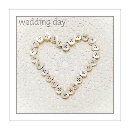 Wedding - Button Heart Greeting Card