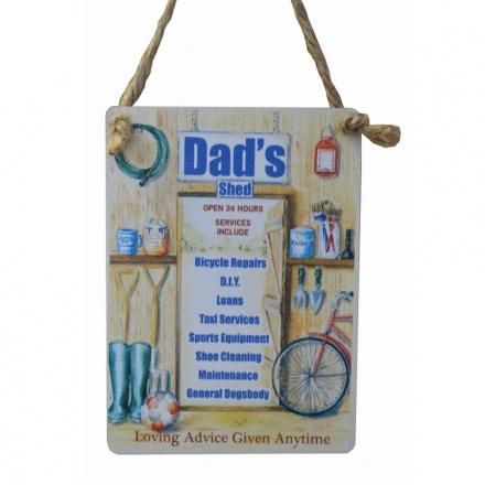 Dads Shed Mini Metal Dangler Sign