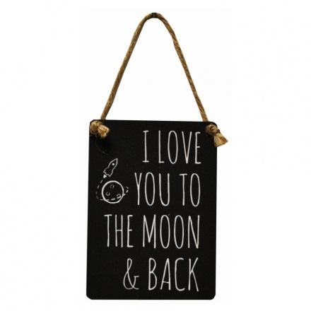 Love You To The Moon Back Mini Metal Dangler