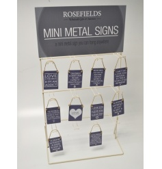 Stand suitable to hold 120 signs in total and sit on a counter or shelf