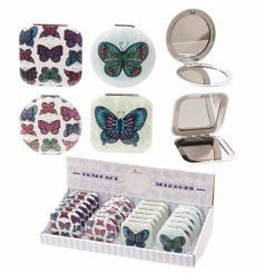 2 Assorted compact mirrors with colourful butterfly design