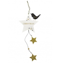 Festive hanging star with Christmas wording finished in navy and gold colours